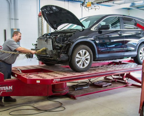 A bumper OEM collision repair at Peters Body Shop.